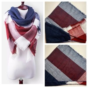 Red White & Blue Cotton Blend Blanket Scarf